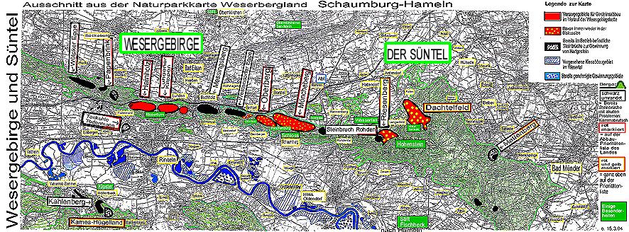 Hameln Karte.Die Berge Im Wesergebirge Möncheberg Oberberg Westendorfer Egge